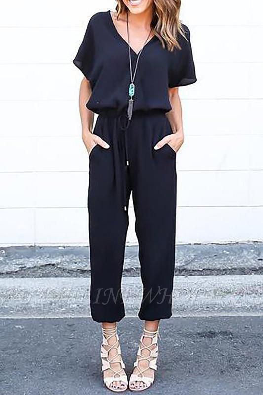 Elegant Loose Black Zipper up V-neck Short Sleeves Jumpsuit