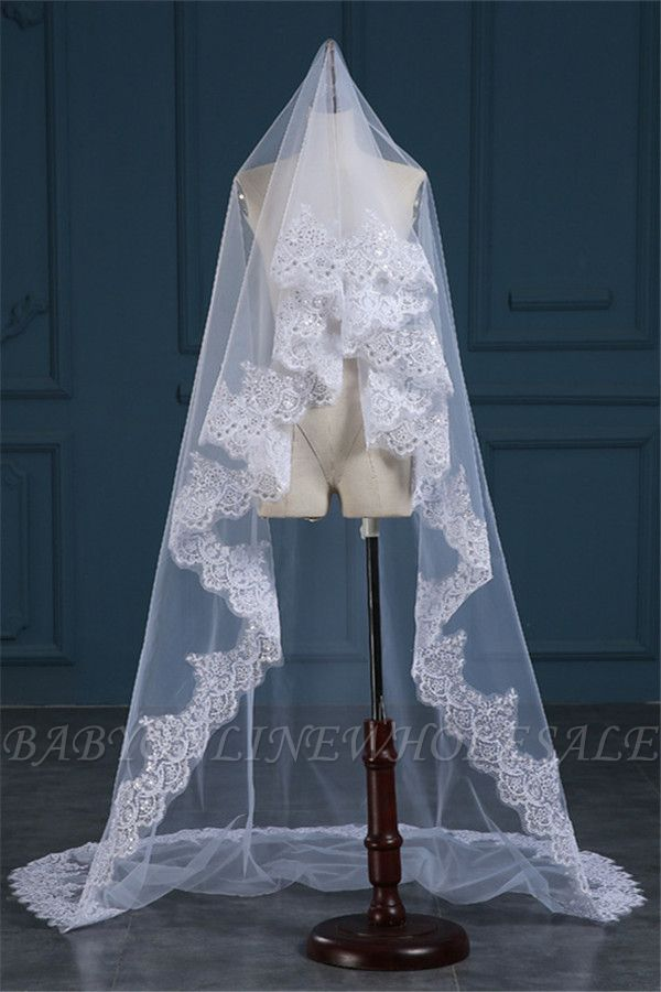Luxury Tulle Lace Applique Edge Wedding Veil with Sequined
