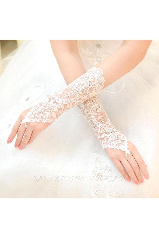 Lace Fingerless Ellbogen Länge Hochzeit Handschuhe mit Applikationen