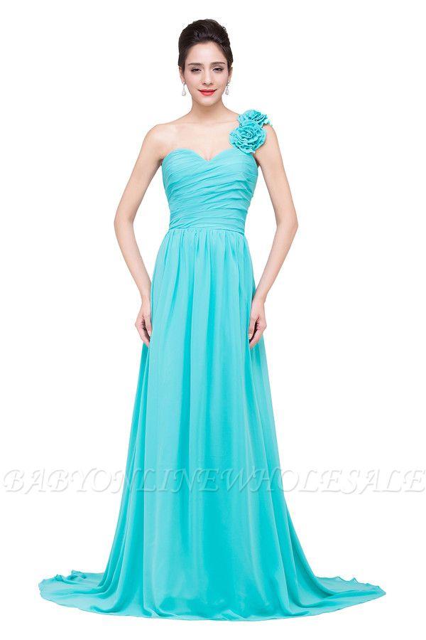 Elegante A-linie Eine Schulter Brautjungfernkleider   Trägerlosen Chiffon Brautjungfernkleider Mit Blume