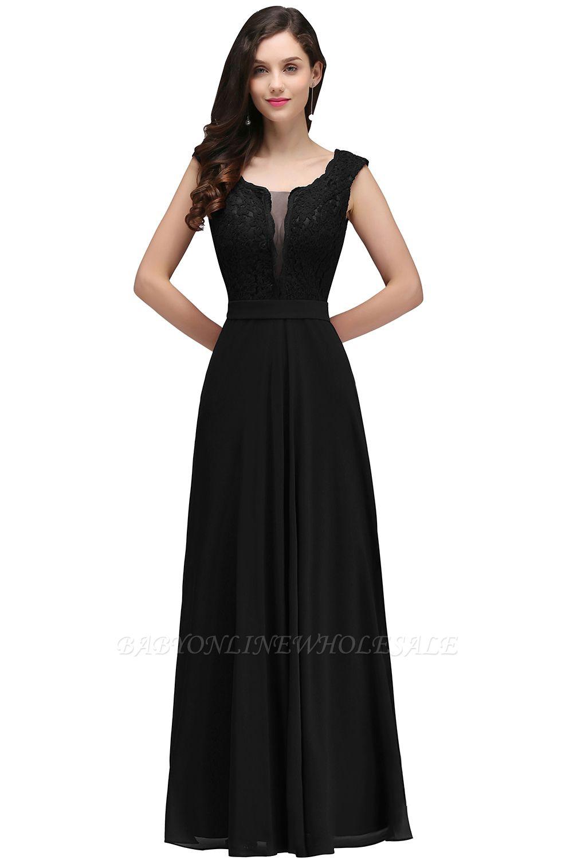 CORINNE   Vestido de fiesta elegante de encaje de una línea de longitud de borgoña