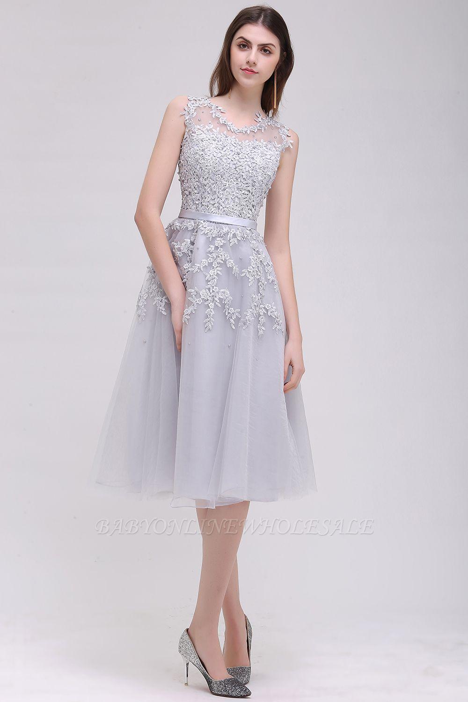 EMORY | A-Line Crew Tea Length Lace Appliques Short Prom Dresses