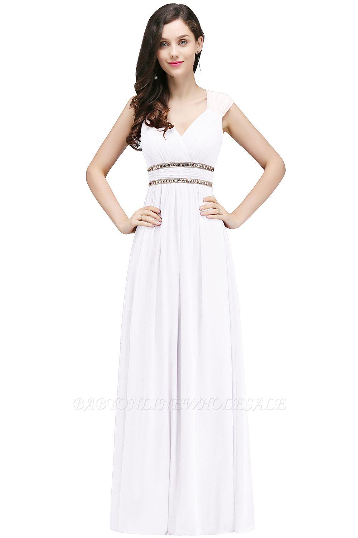 ALISON | Gaine col v en mousseline de soie bordeaux longues robes de soirée avec des perles