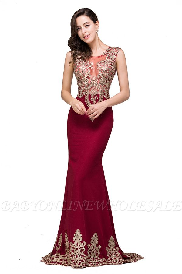 HADASSAH | Mermaid Crew Sweep-length Burgundy Formal Dresses With Applique