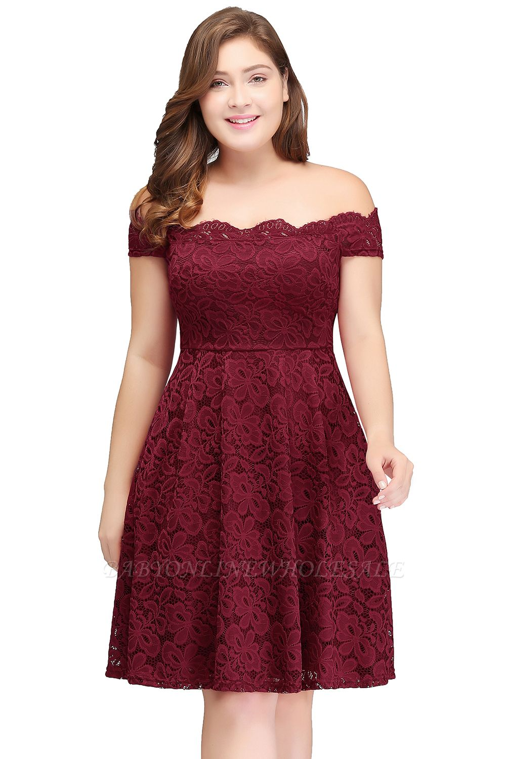JANIYA | A-Line Off-Shoulder Knee Length Lace Burgundy Plus ...