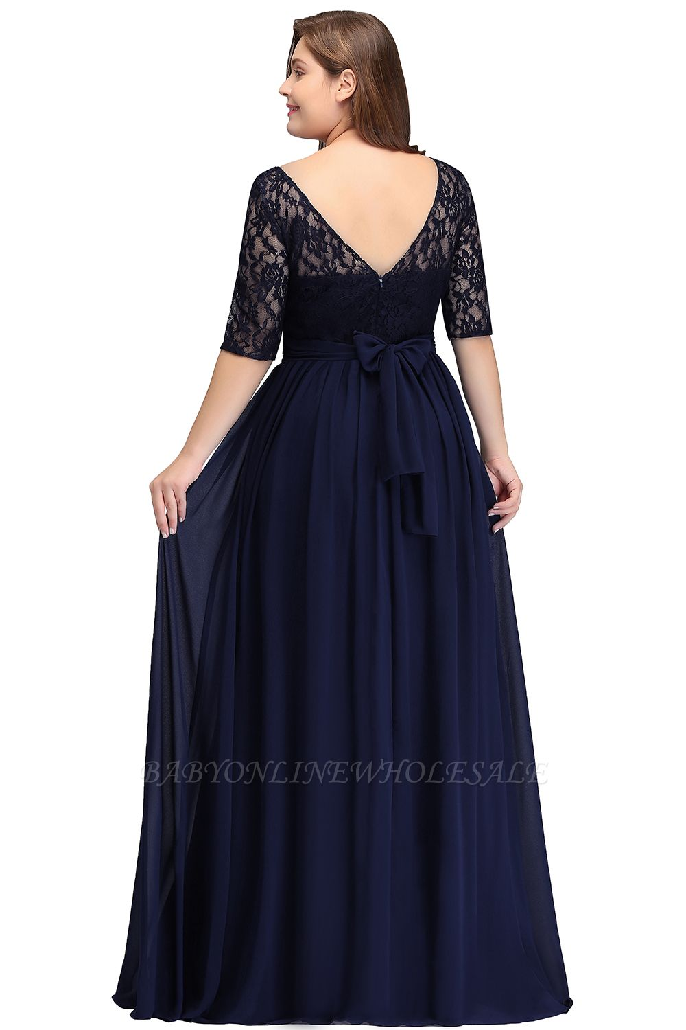 IVANNA | A-Line Scoop Half Sleeves Long Navy Blue Plus size ...