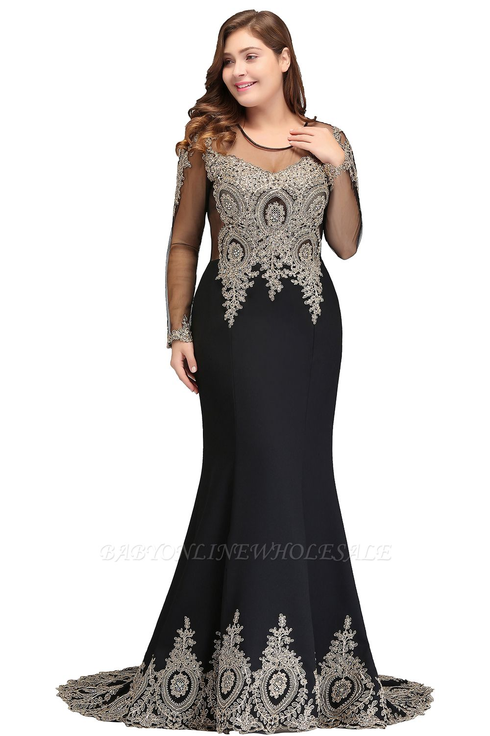 ISABELLE | Mermaid Crew Floor Length Long Sleeves Plus size Evening Dresses with Appliques