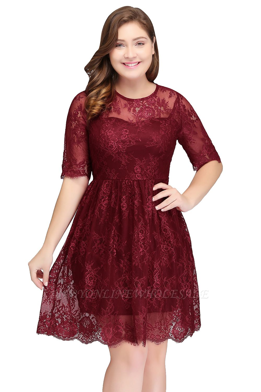 B-JASMINE | A-Line Crew Half Sleeves Lace Burgundy Plus size homecoming Dresses