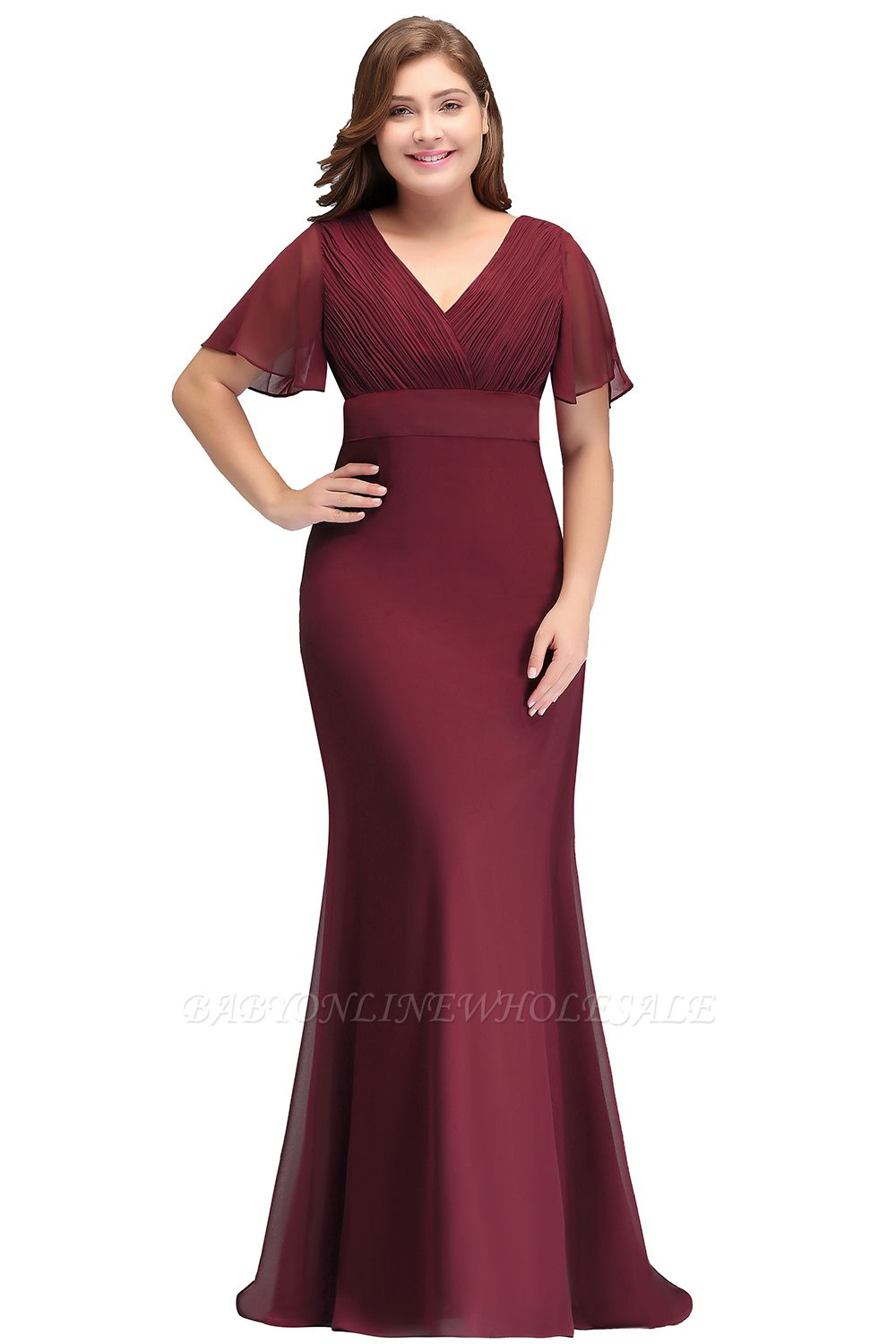 JAYDE | Mermaid V-neck Floor Length Short Sleeves Burgundy Plus size bridesmaid Dresses with Sash