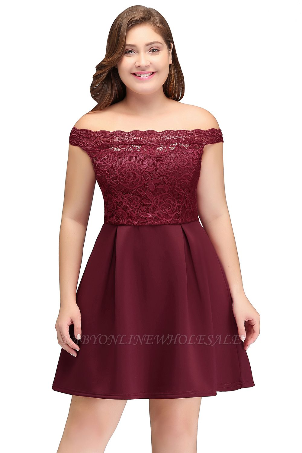 JAYCEE | A-Line Off-Shoulder Short Lace Chiffon Plus size homecoming  Dresses Burgundy