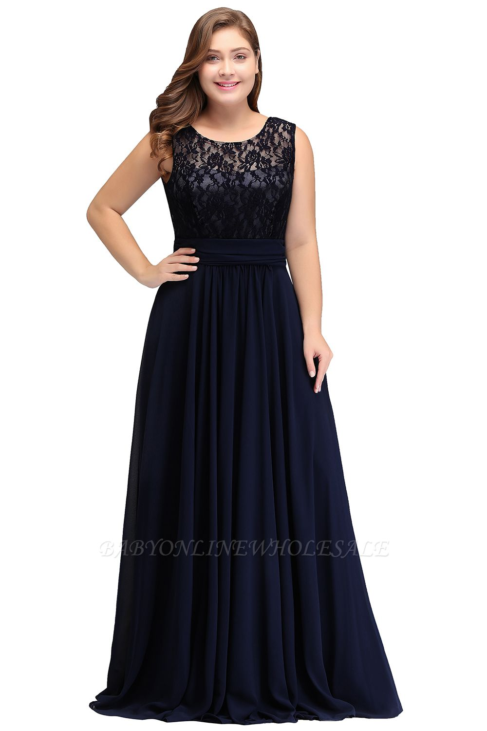 IVY | A-Line Crew Long Sleeveless Dark Navy Plus size bridesmaid Dresses with Lace