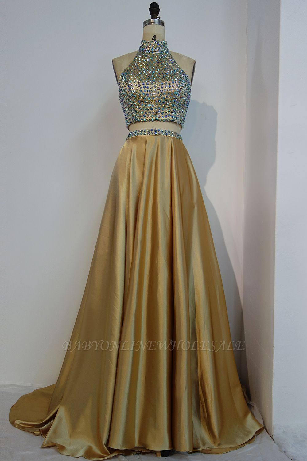 JESSA | A-line Two-piece Floor Length Halter Prom Dresses with Crystals