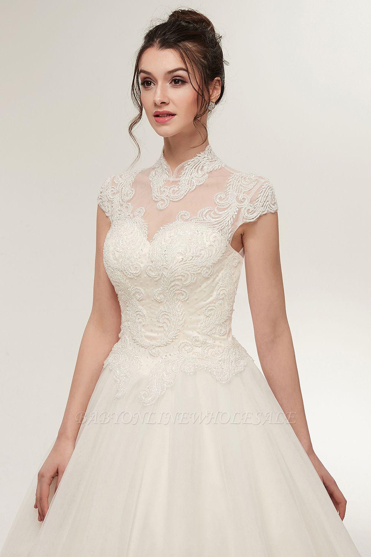 Vintage V-Ausschnitt Spitze Hochzeitskleid Brautkleid Weiß
