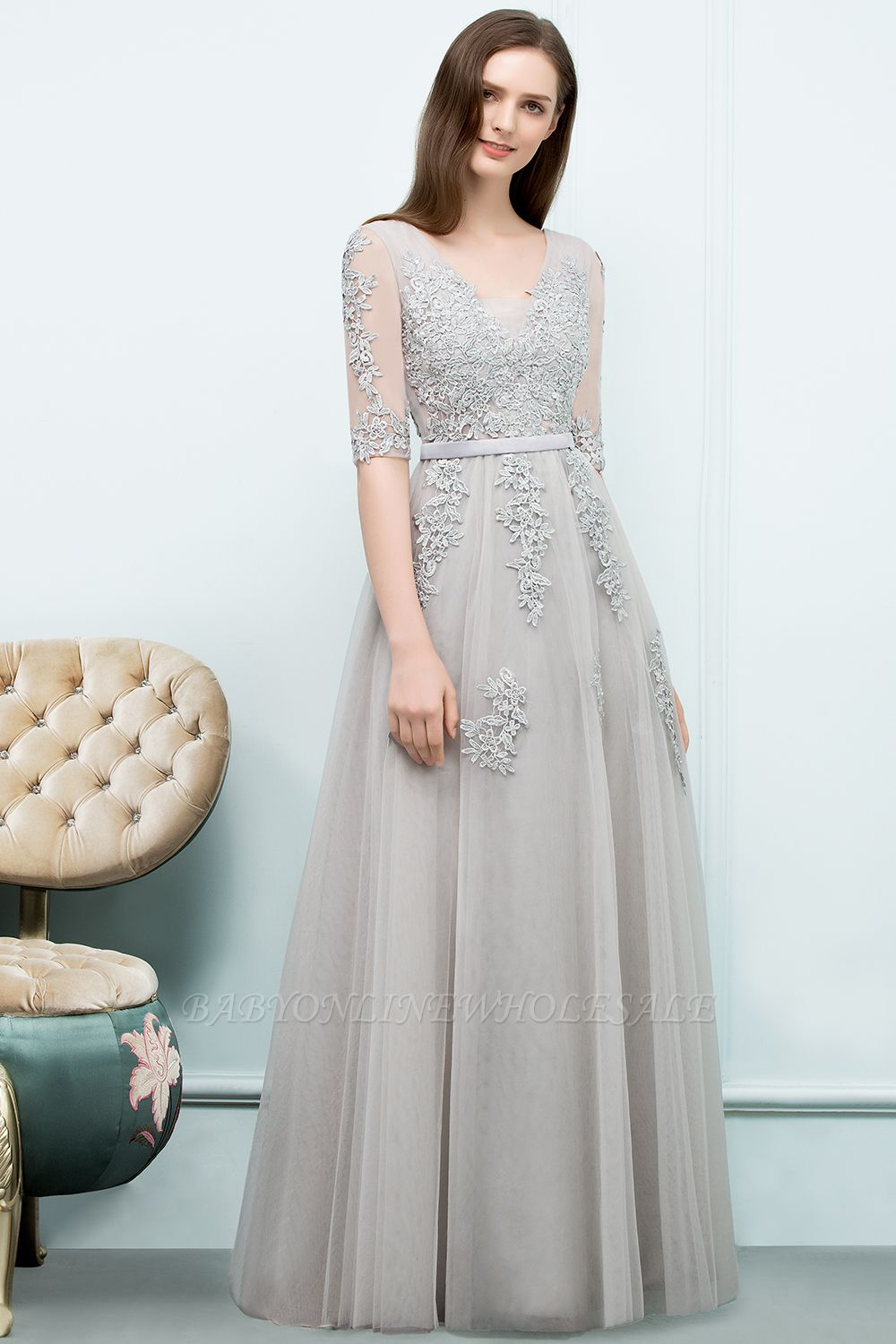 JORDYNN | A-line Half-sleeve V-neck Floor Length Appliqued Tulle Prom Dresses with Sash