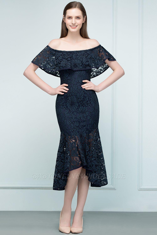VERENA | Mermaid Off-shoulder Tea Length Black Lace Prom Dresses