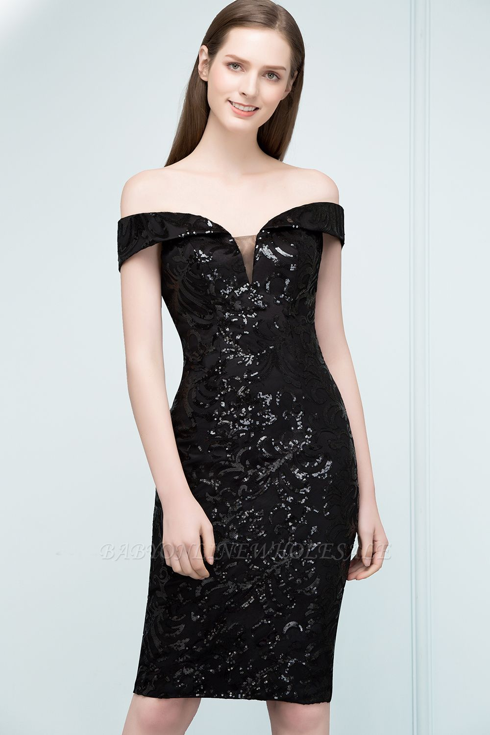 VENUS | Sheath Off-shoulder Short Sequined Black Prom Dresses