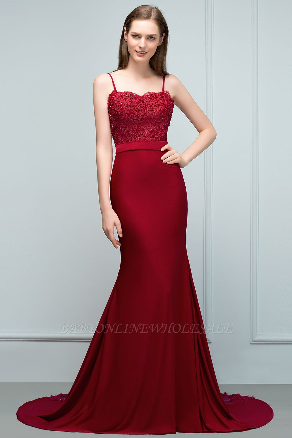 VALERY | Mermaid Spaghetti Sweetheart Long Burgundy Appliques Prom Dresses with Beads
