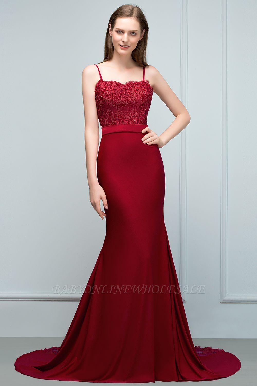 VALERY | Sirène Spaghetti Sweetheart Longue Appliques Bourgogne Robes de bal avec des perles