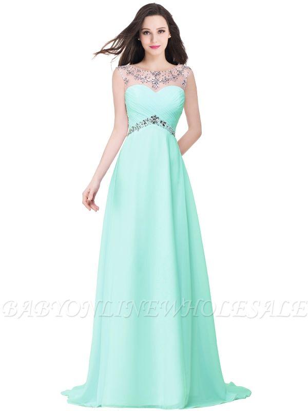 AINSLEY   A-ligne chérie robe de soirée en mousseline de soie avec cristal