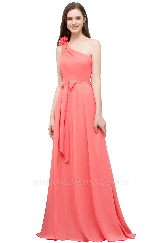 VALERIEN | A-Linie eine Schulter bodenlangen Chiffon Prom Kleider mit Bogen Schärpe