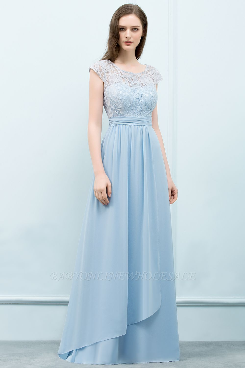 SHIRLEY | A-line Long Cap Sleeves Lace Top Chiffon Bridesmaid Dresses