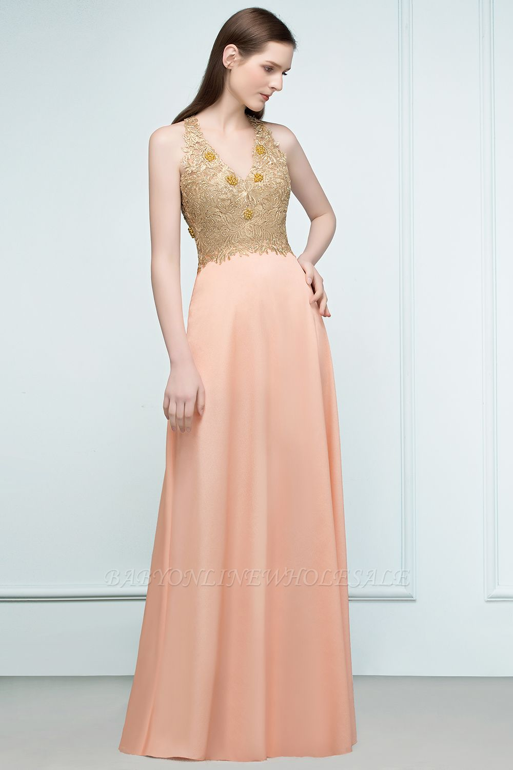 RENA | A-line Floor Length Spaghetti V-neck Appliqued Chiffon Bridesmaid Dresses