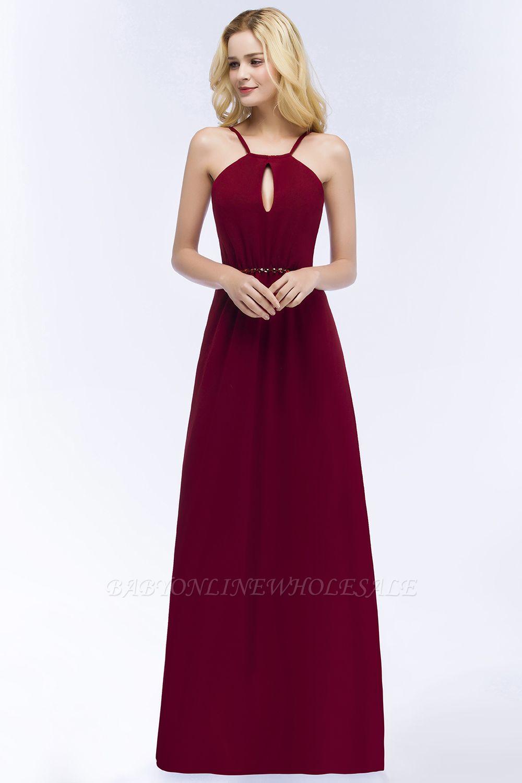 9560b212f529 ROMA | Vestidos de dama de honor de espagueti de escote redondo con escote  palabra de honor