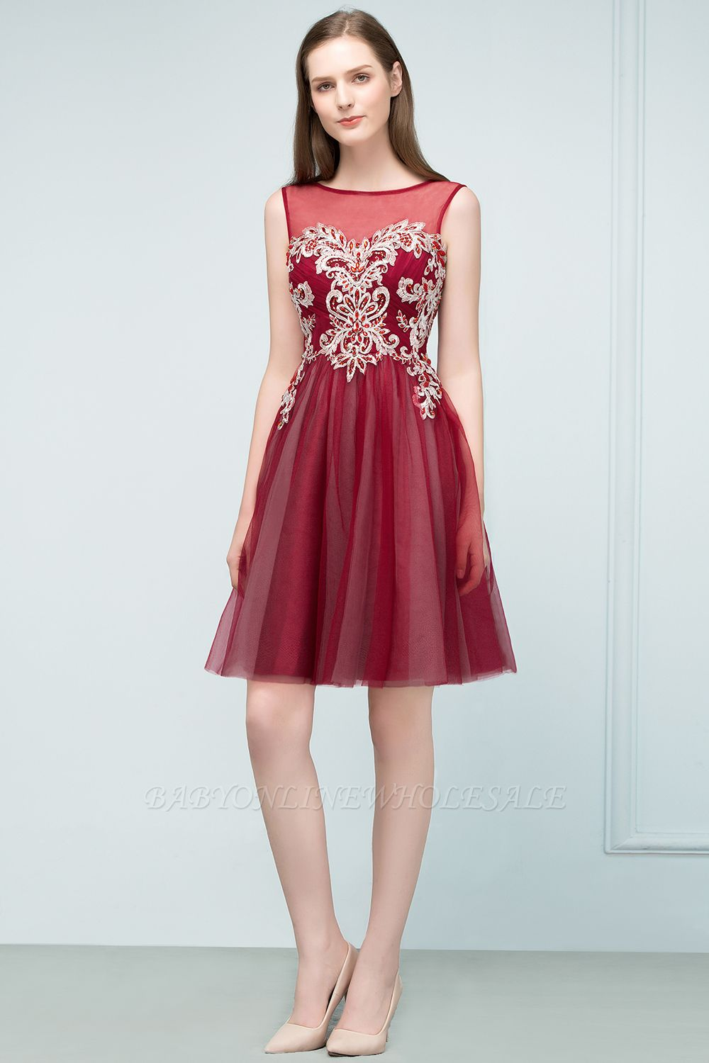 SUSANNA | A-line Short Sleeveless Appliqued Tulle Homecoming Dresses with Crystals