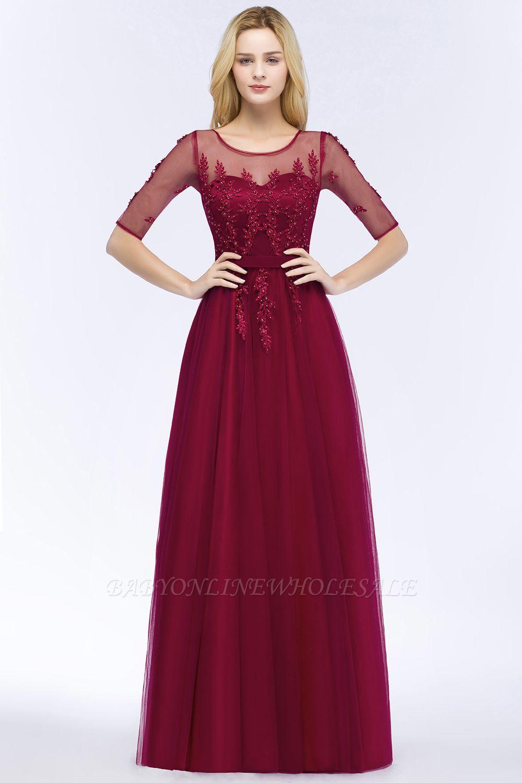 Wunderschöne Weinrote Spitze Brautjungfernkleider A-Linie | Elegantes Brautjungfer Kleid Tüll