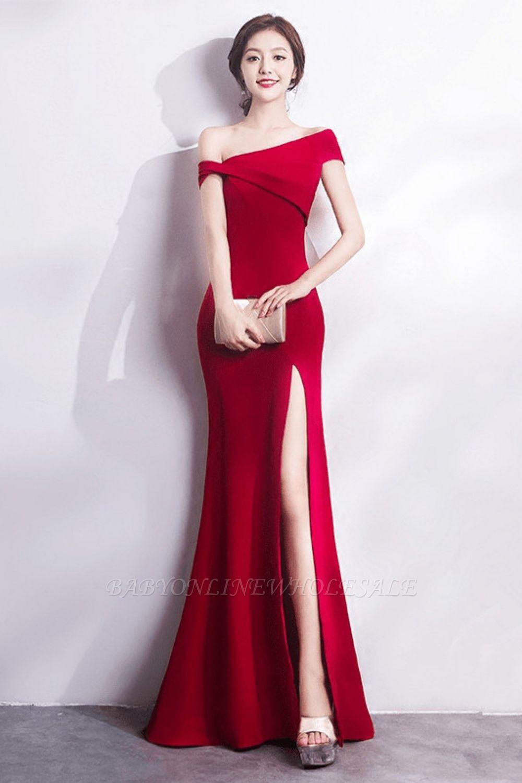Mermaid Floor Length One-shoulder Slit Prom/Formal Evening Dresses