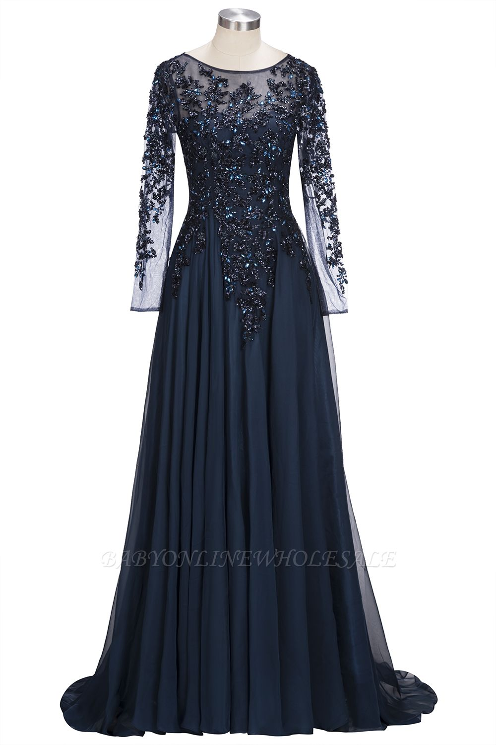 e89289d27a5b ROWENA | A-line Floor Length Long Sleeves Crystals Tulle Prom Dresses |  www.babyonlinewholesale.com