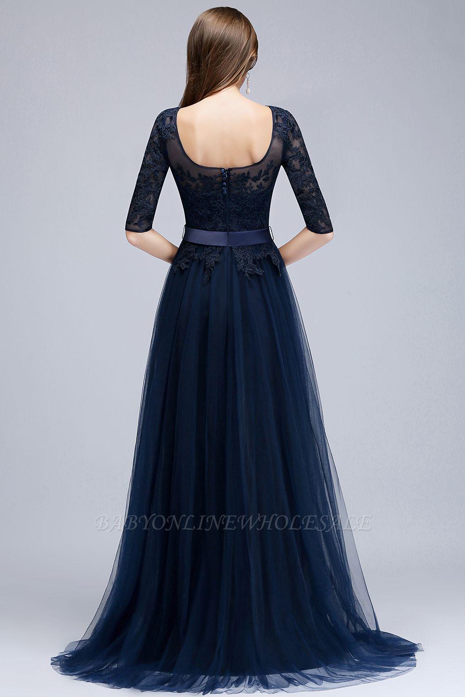 Navy Blau Abendkleider Mit armel | Spitze Abiballkleider ...