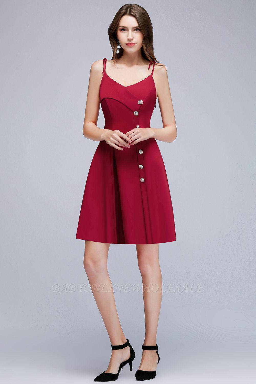MALVINA | A-ligne courtes col en V Spaghetti Bourgogne robes de soirée avec des boutons