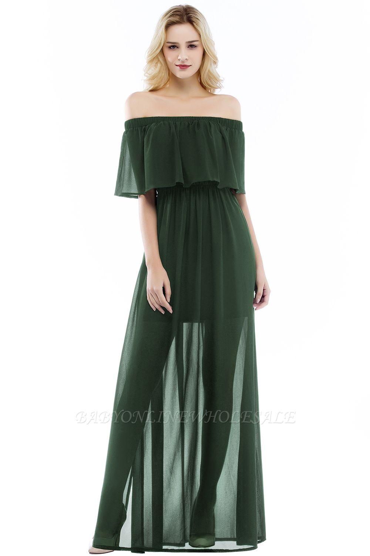 PANDORA   A-line Off-the-shoulder Floor Length Black Chiffon Bridesmaid Dresses