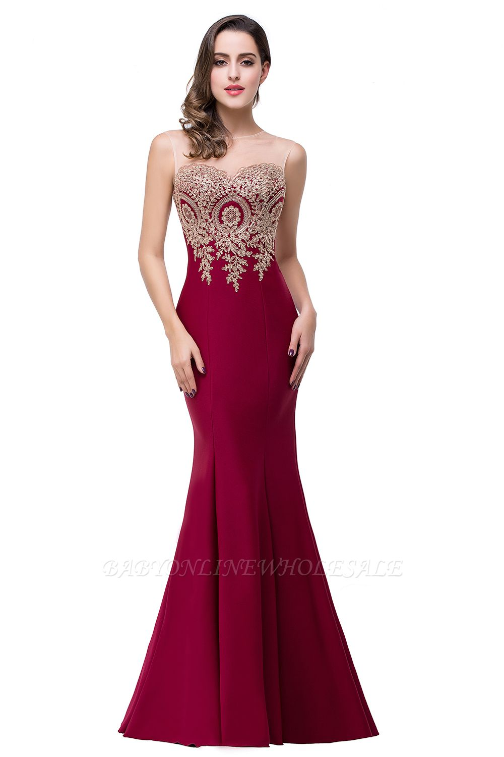 EMMY | Mermaid Floor-Length Sheer Prom Dresses with Rhinestone Appliques