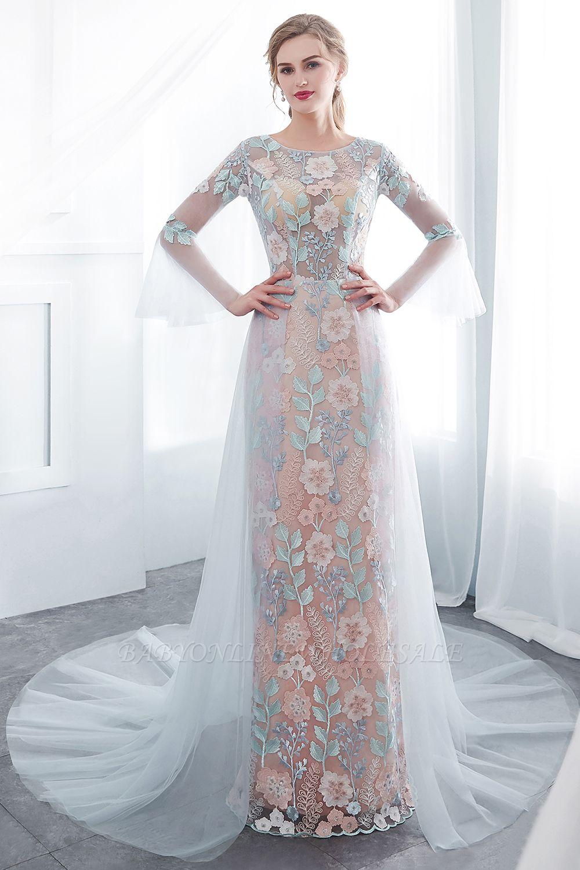 NAOMI | Gaine manches longues pure encolure appliques fleurs robes de soirée