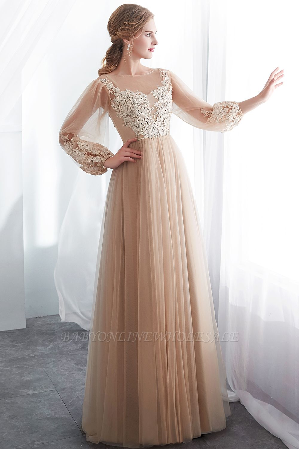 NATALIE | A-line Long Sleeves Appliques Tulle Champagne Evening Dresses