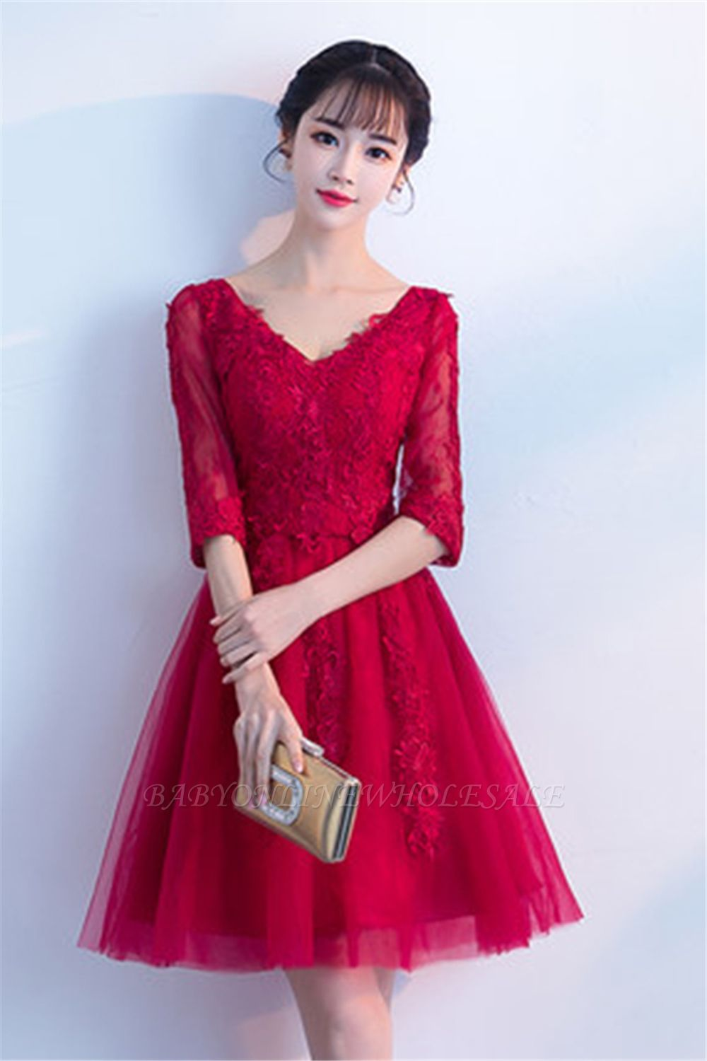 MARGE   A-line V-neck Half Sleeves Tulle Appliques Homecoming Dresses