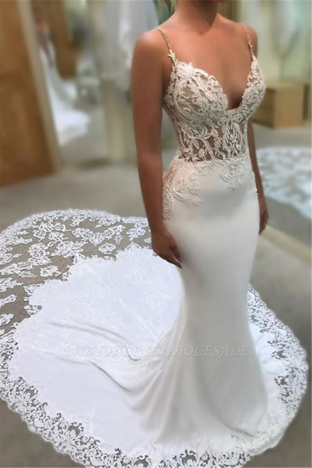 Mermaid Spaghetti Sleeveless Appliqued Lace Court Train Wedding Dresses