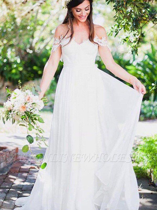 Sweep Train A-Line Chiffon Sleeveless Applique Lace Off-the-Shoulder Wedding Dresses