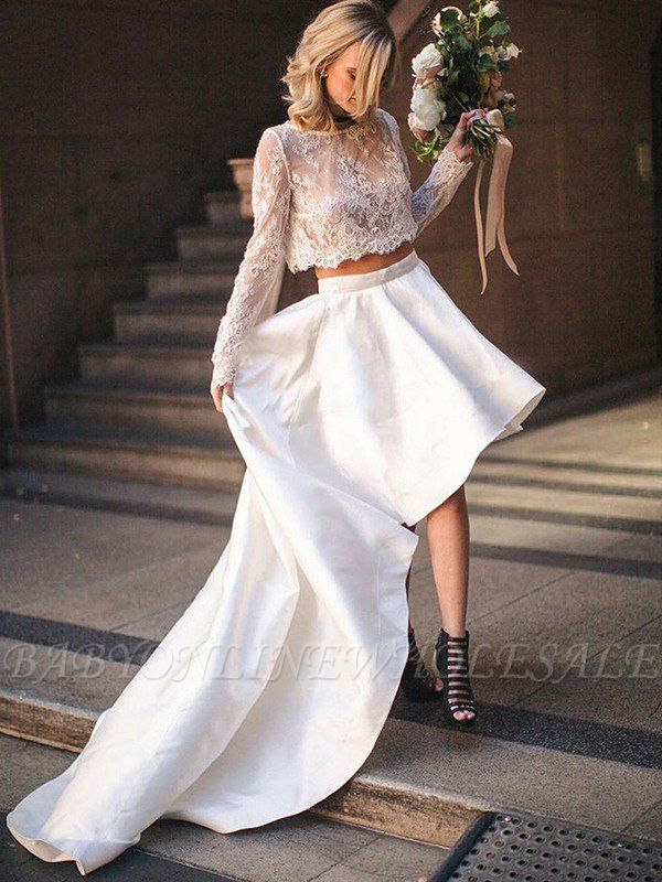 Two Piece A-Line Satin Long Sleeves Lace Scoop Sweep Train Wedding Dresses