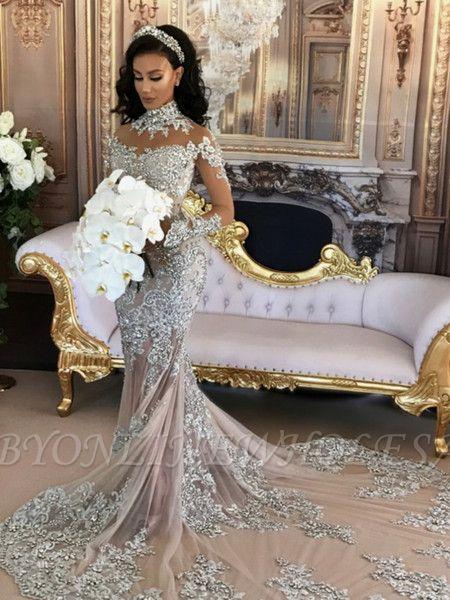Long Sleeve Silver High Neck Popular Evening Dress Lace Mermaid Luxury Wedding Dresses BH-362