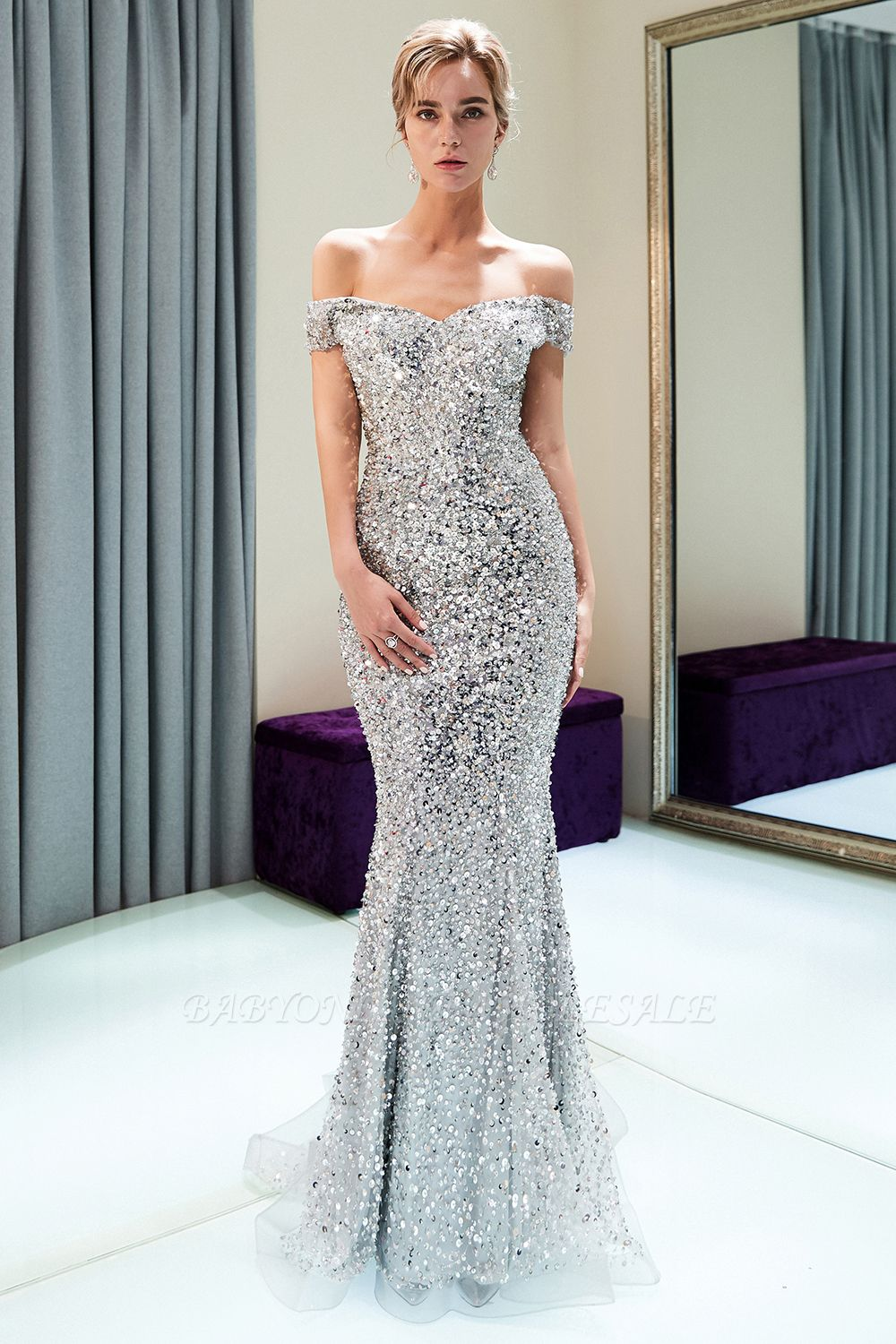 ea94ecaf113 Silver Sequin Long Evening Gown - Data Dynamic AG