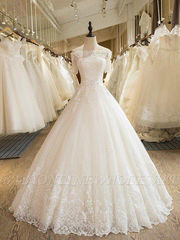 Palabra de longitud apliques vestido de novia | fuera del hombro de encaje de tul con medias mangas