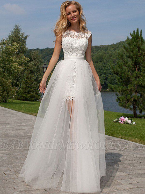 Column Scoop Floor-Length Lace Tulle Sleeveless Wedding Dresses