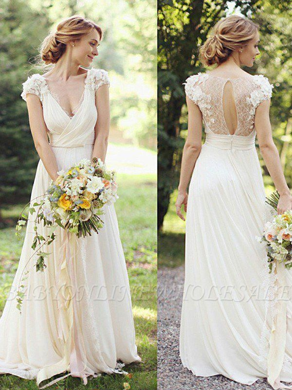 Floor-Length A-Line Ruched Chiffon V-neck Short Sleeves Wedding Dresses