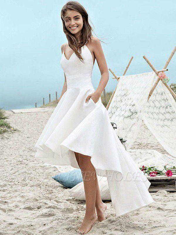 Sleeveless A-Line Asymmetrical Satin Spaghetti Straps Ruched Wedding Dresses