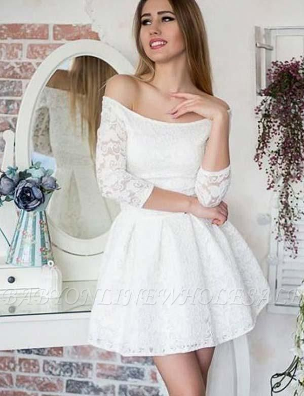 Glamorous Long Sleeves A-Line Lace Off-the-Shoulder Mini Prom Dress