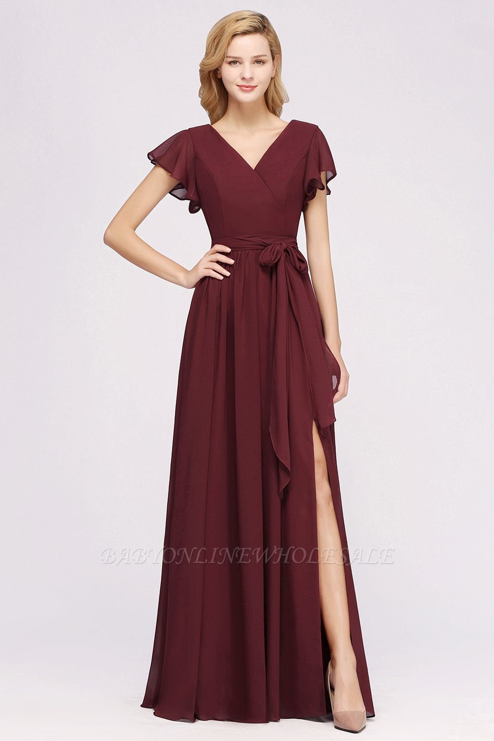 elegant A-line Chiffon V-Neck Short-Sleeves Floor-Length Bridesmaid Dresses with Bow Sash