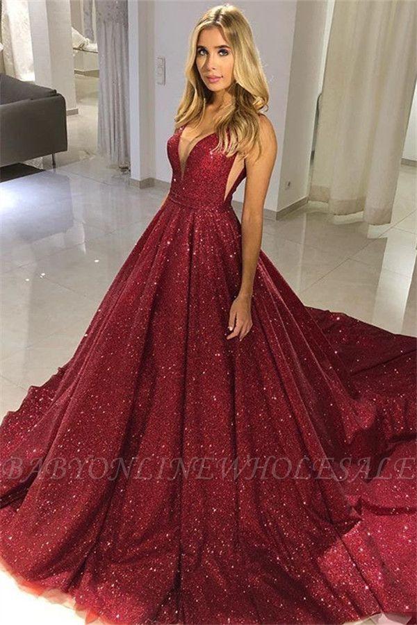 Fashion A-Line Straps Sleeveless V-Neck Floor-Length Prom Dress